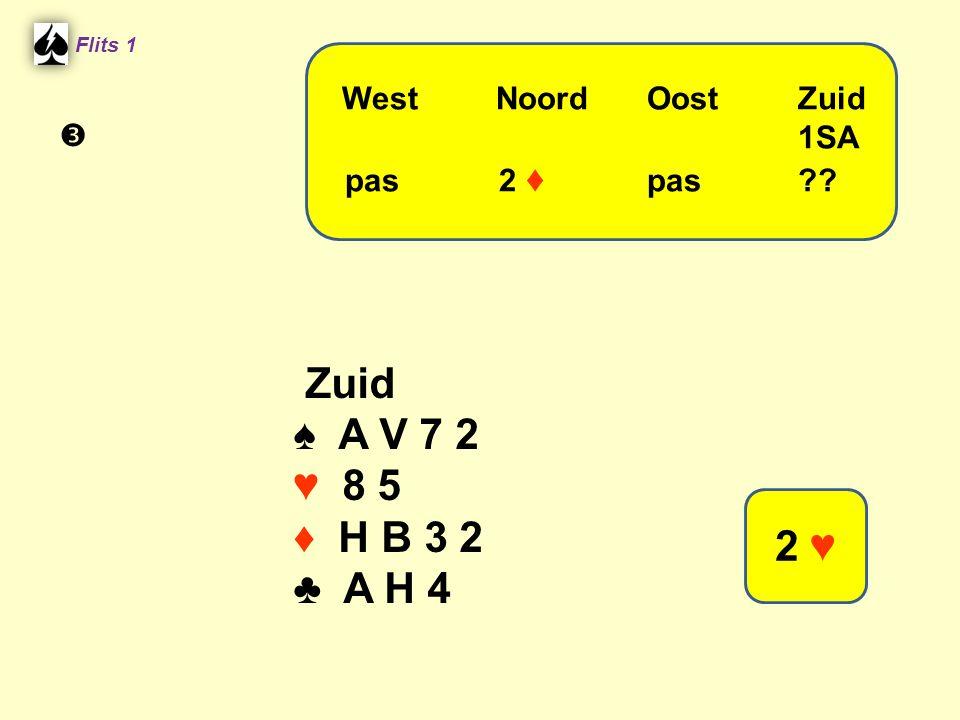Flits 1 Zuid ♠ A V 7 2 ♥ 8 5 ♦ H B 3 2 ♣ A H 4 WestNoordOostZuid 1SA pas 2 ♦ pas?? 2 ♥ 