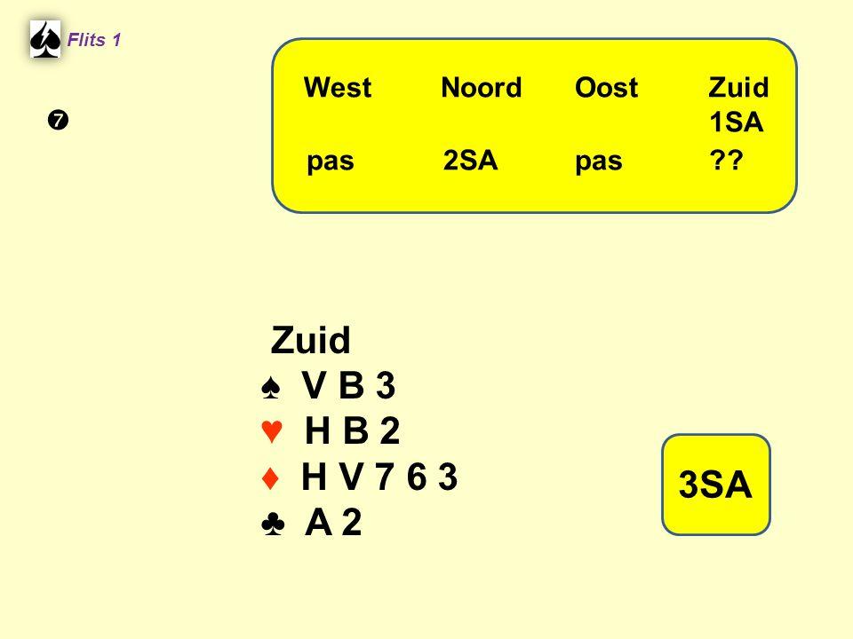 Flits 1 Zuid ♠ V B 3 ♥ H B 2 ♦ H V 7 6 3 ♣ A 2 WestNoordOostZuid 1SA pas 2SA pas?? 3SA 