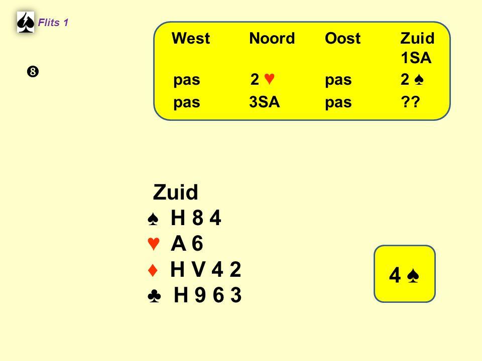 Flits 1 Zuid ♠ H 8 4 ♥ A 6 ♦ H V 4 2 ♣ H 9 6 3 WestNoordOostZuid 1SA pas 2 ♥ pas2 ♠ pas3SApas?? 4 ♠ 