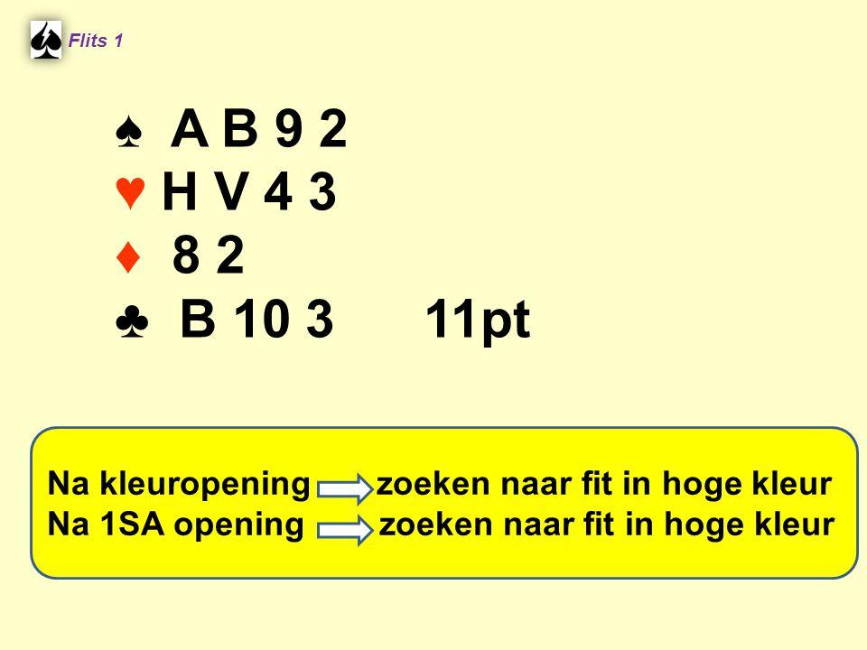 ♠ HV9 ♠ 765 ♥ A5 ♥ B98643 ♦ A943 ♦ 765 ♣ A953 ♣ 6 [17] [1] Partner opent 1SA.