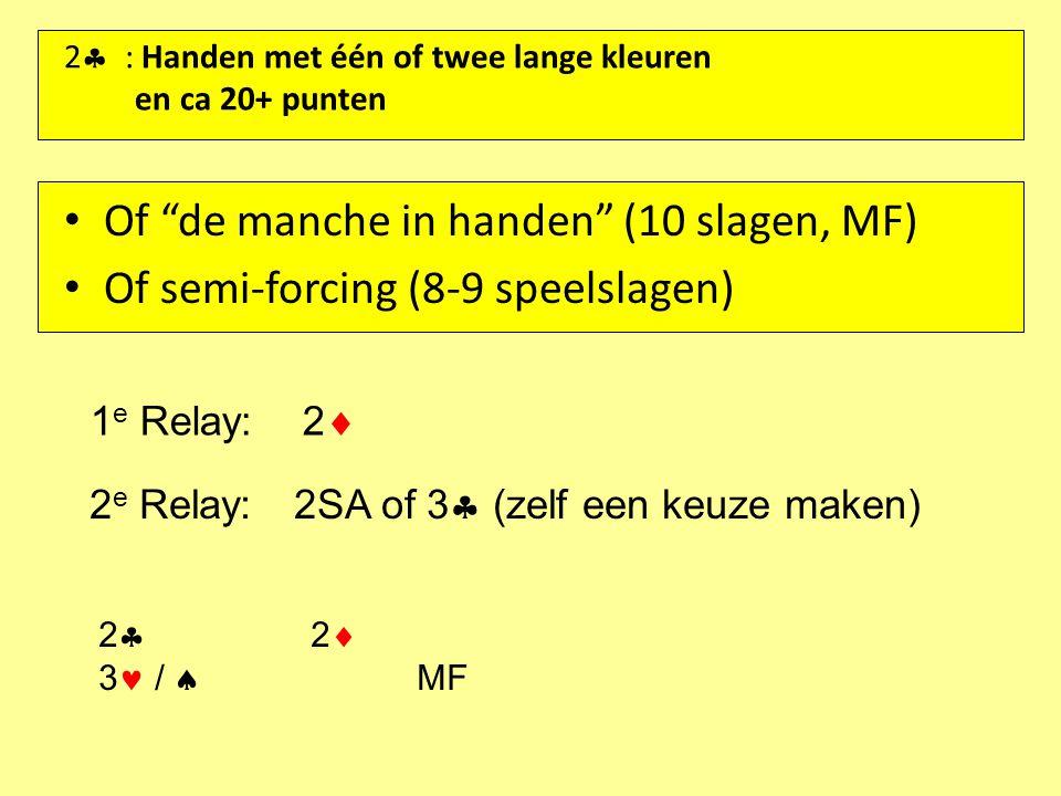 """2  : Handen met één of twee lange kleuren en ca 20+ punten Of """"de manche in handen"""" (10 slagen, MF) Of semi-forcing (8-9 speelslagen) 1 e Relay:2  2"""