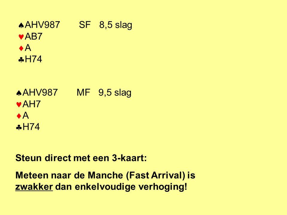  AHV987 SF 8,5 slag AB7  A  H74  AHV987 MF 9,5 slag AH7  A  H74 Steun direct met een 3-kaart: Meteen naar de Manche (Fast Arrival) is zwakker da