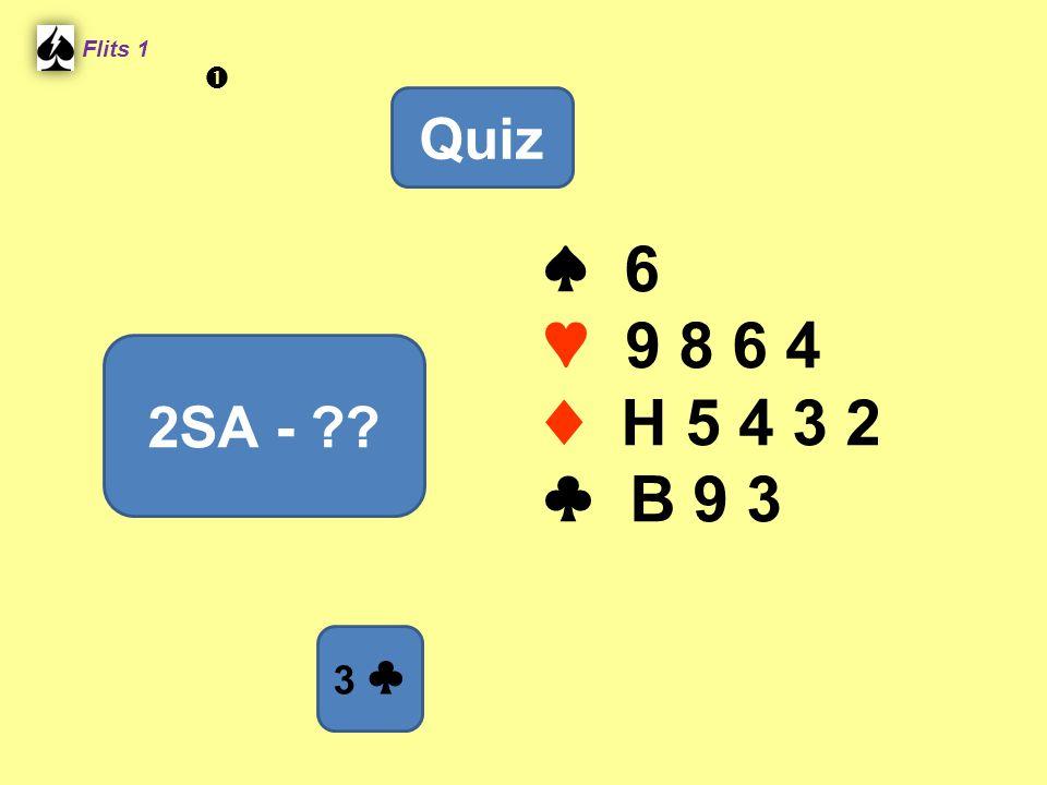 ♠ 6 ♥ 9 8 6 4 ♦ H 5 4 3 2 ♣ B 9 3 Flits 1 2SA - ?? Quiz 3 ♣ 