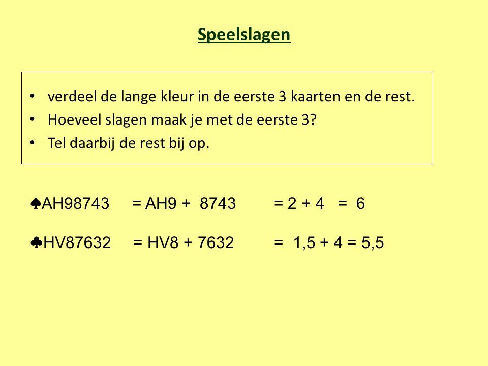 Speelslagen verdeel de lange kleur in de eerste 3 kaarten en de rest. Hoeveel slagen maak je met de eerste 3? Tel daarbij de rest bij op. ♠ AH98743 =