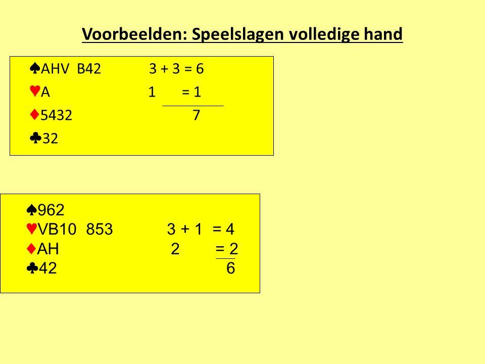 Voorbeelden: Speelslagen volledige hand ♠ AHV B42 3 + 3 = 6 ♥ A 1 = 1 ♦ 5432 7 ♣ 32 ♠ 962 ♥ VB10 853 3 + 1 = 4 ♦ AH 2 = 2 ♣ 42 6