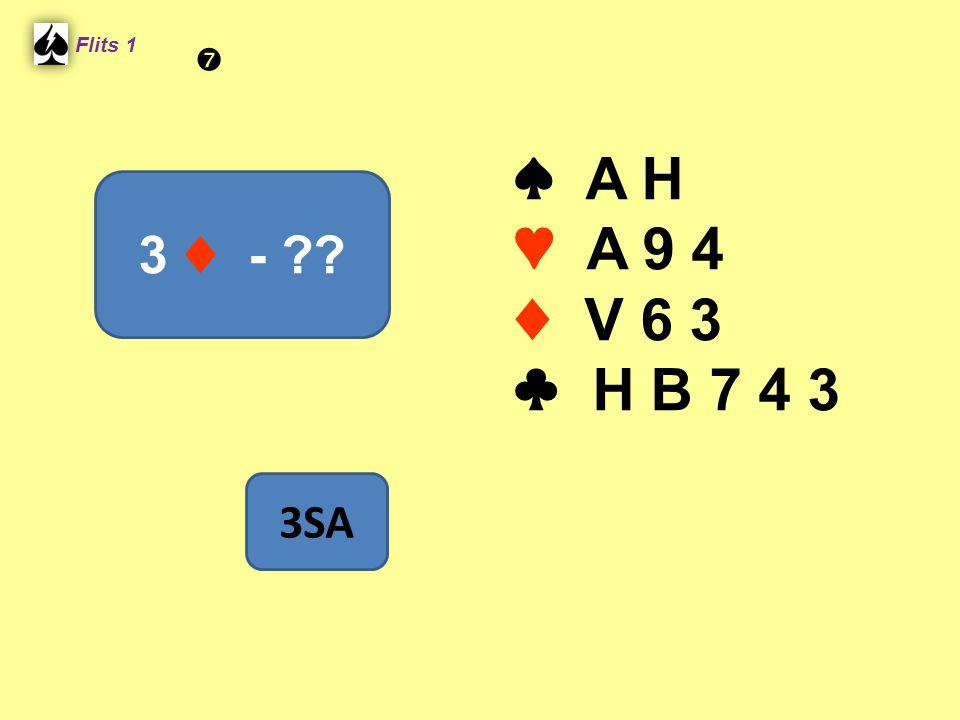 ♠ A H ♥ A 9 4 ♦ V 6 3 ♣ H B 7 4 3 Flits 1 3 ♦ - ?? 3SA 