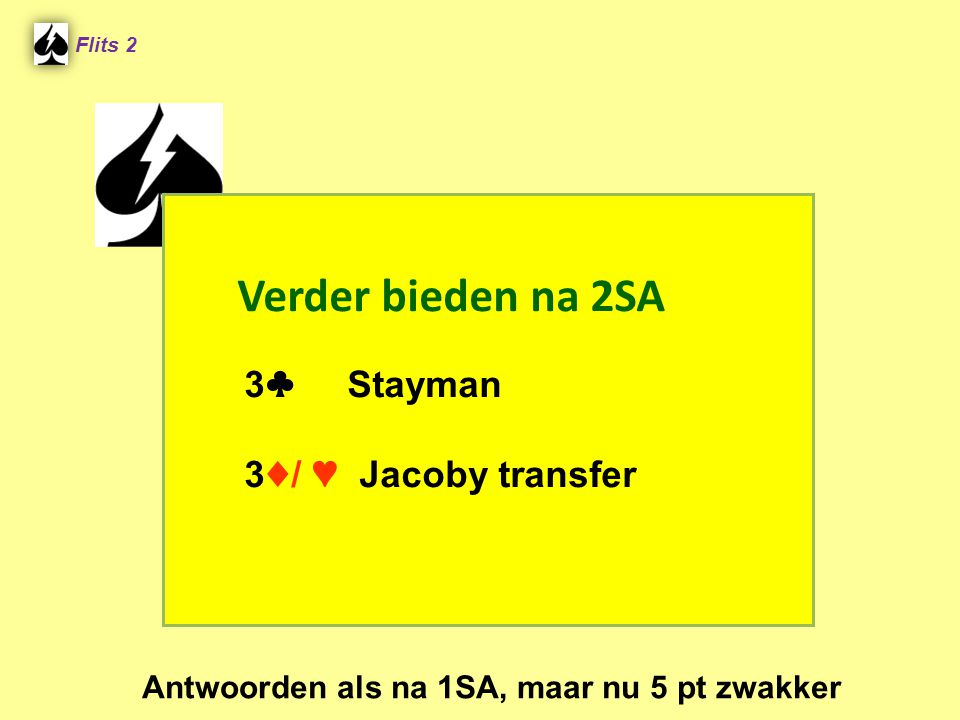 Verder bieden na 2SA 3 ♣ Stayman 3 ♦ / ♥ Jacoby transfer Flits 2 Antwoorden als na 1SA, maar nu 5 pt zwakker
