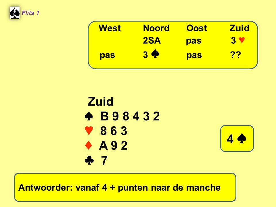 Flits 1 Zuid ♠ B 9 8 4 3 2 ♥ 8 6 3 ♦ A 9 2 ♣ 7 WestNoordOostZuid 2SA pas 3 ♥ pas3 ♠ pas?? 4 ♠ Antwoorder: vanaf 4 + punten naar de manche