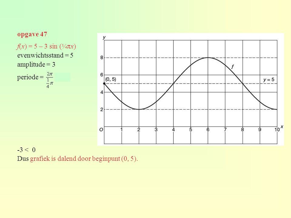 opgave 47 f(x) = 5 – 3 sin (¼πx) evenwichtsstand = 5 amplitude = 3 periode = = 8 -3 < 0 Dus grafiek is dalend door beginpunt (0, 5).