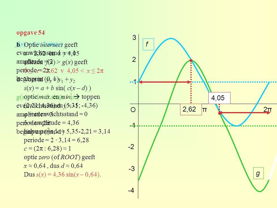 opgave 54 f(x) = 1 + 2 sin(x) evenwichtsstand y = 1 amplitude = 2 periode = 2π beginpunt (0, 1) g(x) = -1 + 3 sin(x -  π) evenwichtsstand y = -1 ampl