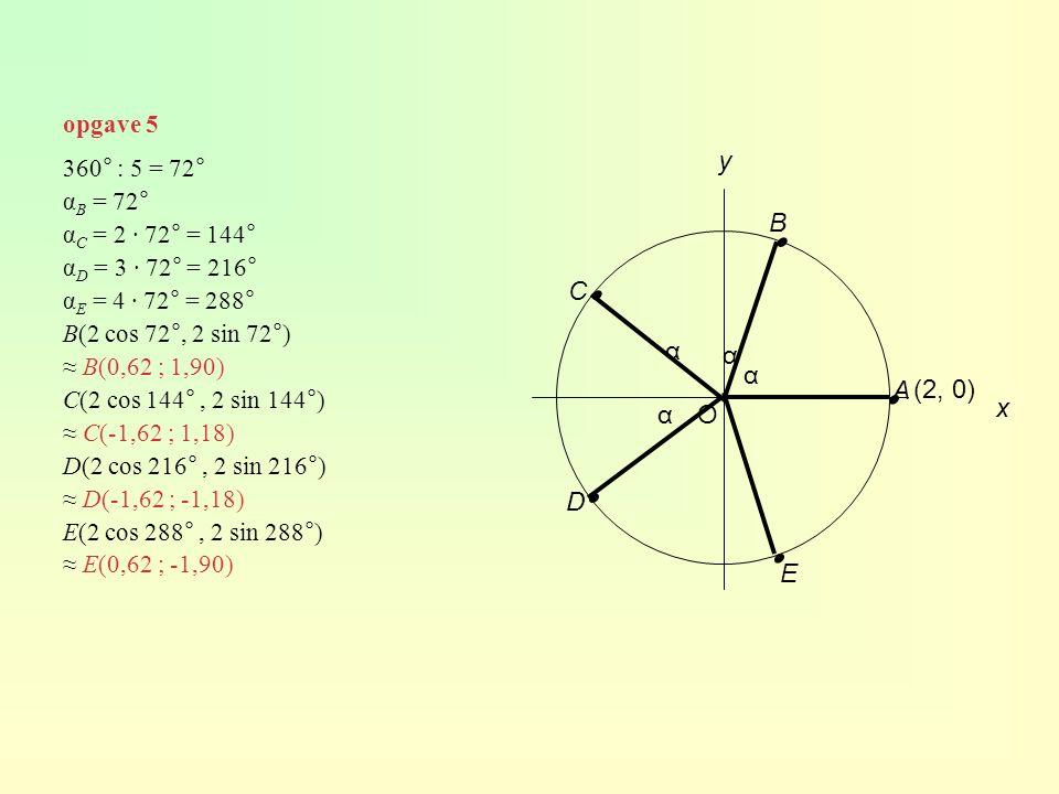 opgave 5 O (2, 0) y A B C D E ∙ ∙ ∙ ∙ ∙ 360° : 5 = 72° α B = 72° α C = 2 · 72° = 144° α D = 3 · 72° = 216° α E = 4 · 72° = 288° B(2 cos 72°, 2 sin 72°