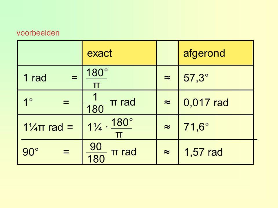 1,57 rad ≈ 90° = 71,6° ≈ 1¼ · 1¼π rad = 0,017 rad ≈ 1° = 57,3° ≈ 1 rad = afgerond exact 180° π 1 180 π rad 180° π 90 180 π rad voorbeelden