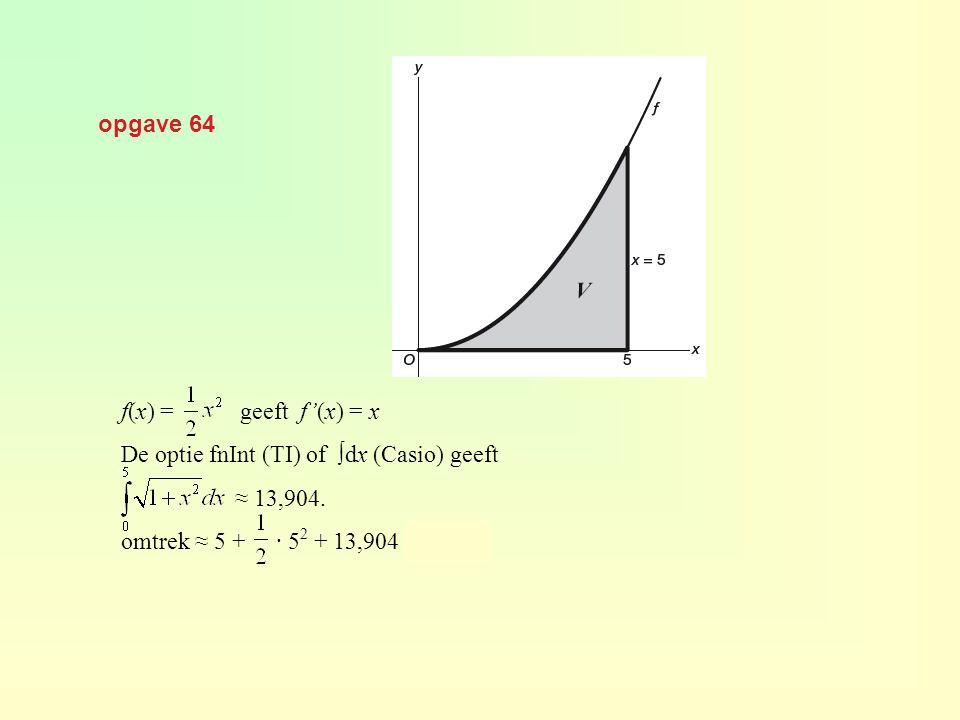 opgave 64 f(x) = geeft f'(x) = x De optie fnInt (TI) of ∫dx (Casio) geeft ≈ 13,904. omtrek ≈ 5 + · 5 2 + 13,904 ≈ 31,40