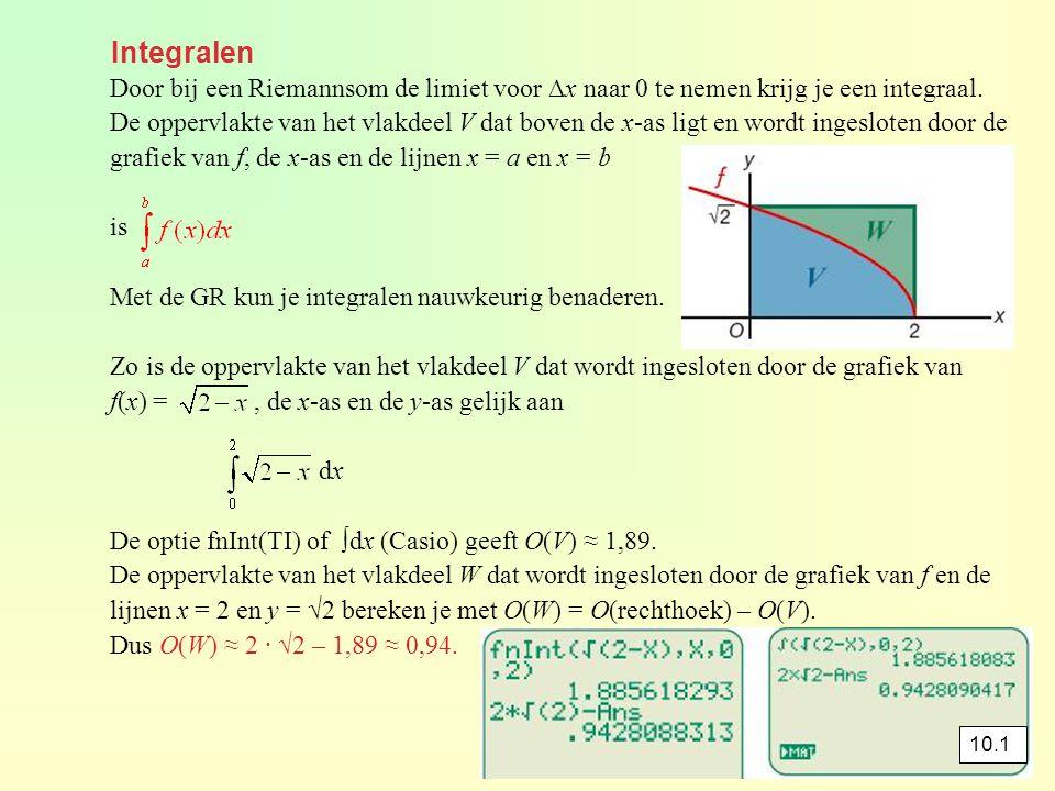 opgave 9 f(x) = 5 geeft 6x – x 2 = 5 -x 2 + 6x – 5 = 0 x 2 – 6x + 5 = 0 (x – 1)(x – 5) = 0 x = 1 ⋁ x = 5 De optie fnInt (TI) of ∫dx (Casio) geeft ≈ 30,667 O(V) ≈ 30,667 – 4 · 5 ≈ 10,67