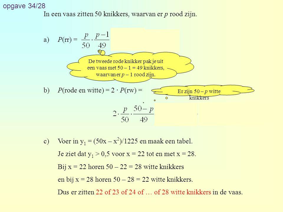 opgave 34/28 In een vaas zitten 50 knikkers, waarvan er p rood zijn. a)P(rr) = b)P(rode en witte) = 2 · P(rw) = c)Voer in y 1 = (50x – x 2 )/1225 en m