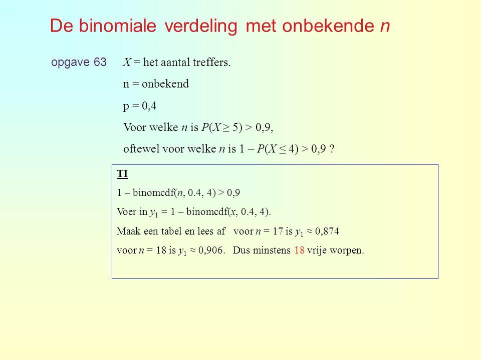 De binomiale verdeling met onbekende n opgave 63 X = het aantal treffers. n = onbekend p = 0,4 Voor welke n is P(X ≥ 5) > 0,9, oftewel voor welke n is