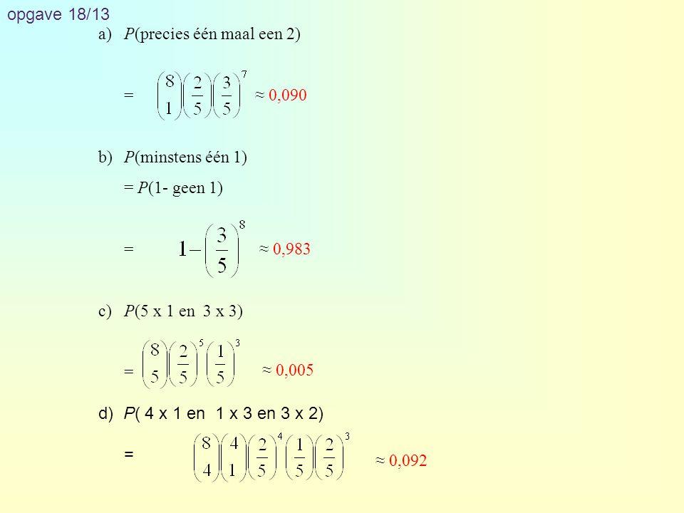 opgave 21/17 aP(minstens 2)= 1 – P(geen of 1) = 1 – P(geen) – P(1) = 1 – 0,78 8 - · 0,22 · 0,78 7 ≈ 0,554 bP(zes of zeven) = P(zes) + P(zeven) = · 0,53 6 · 0,47 6 + · 0,53 7 · 0,47 5 ≈ 0,434 cP(hoogstens 2 zakken)= P(minstens 8 slagen) = P(8) + P(9) + P(10) = · 0,71 8 · 0,29 2 + · 0,71 9 · 0,29 + 0,71 10 ≈ 0,410 12 6 8181 12 7 10 8 10 9