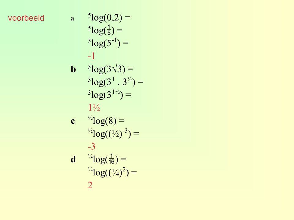 voorbeeld a 5 log(0,2) = 5 log(  ) = 5 log(5 -1 ) = b 3 log(3√3) = 3 log(3 1. 3 ½ ) = 3 log(3 1½ ) = 1½ c ½ log(8) = ½ log((½) -3 ) = -3 d ¼ log(  )