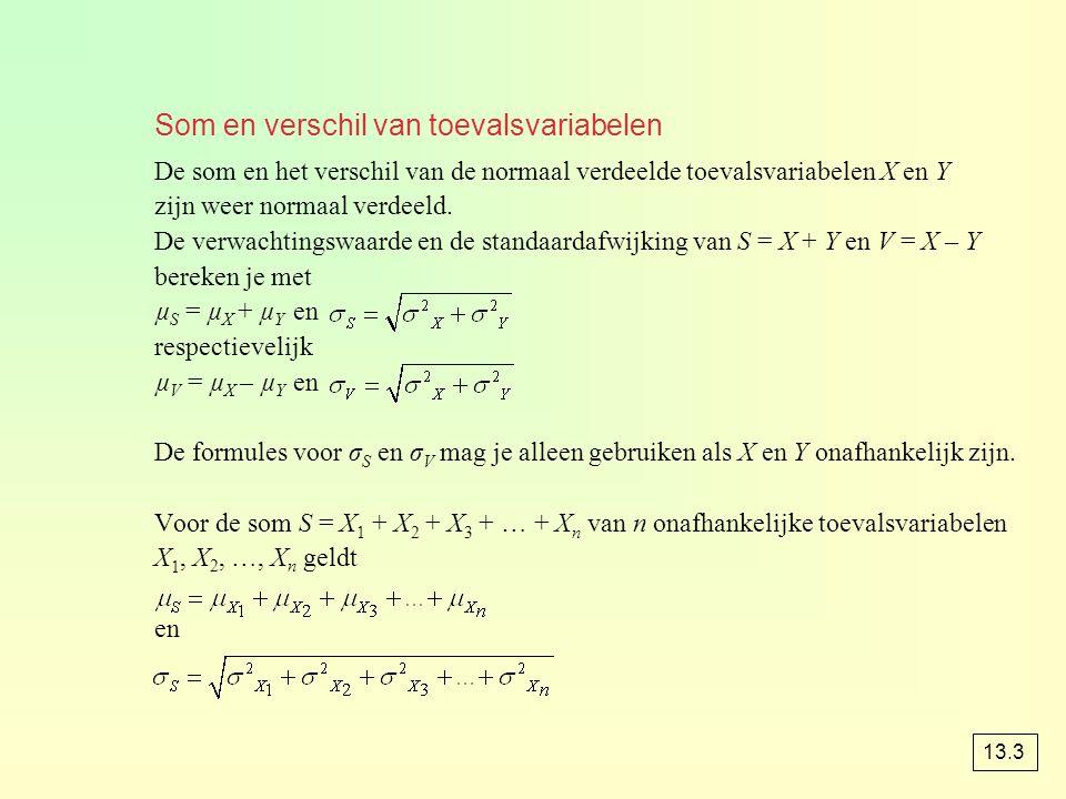 Som en verschil van toevalsvariabelen De som en het verschil van de normaal verdeelde toevalsvariabelen X en Y zijn weer normaal verdeeld. De verwacht