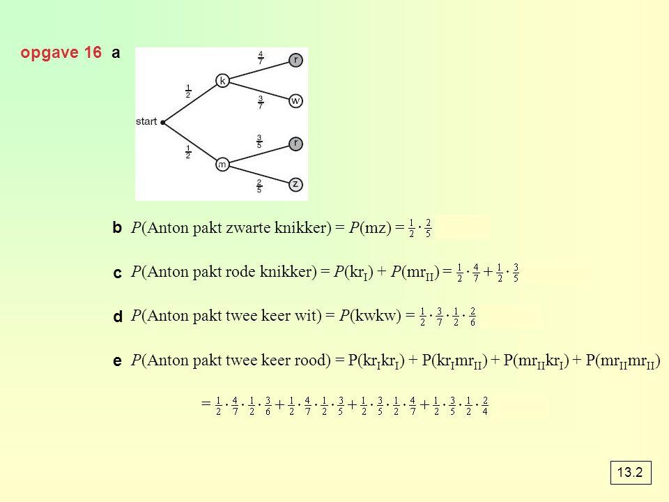opgave 16 a b P(Anton pakt zwarte knikker) = P(mz) = = 0,2 P(Anton pakt rode knikker) = P(kr I ) + P(mr II ) = ≈ 0,586 P(Anton pakt twee keer wit) = P