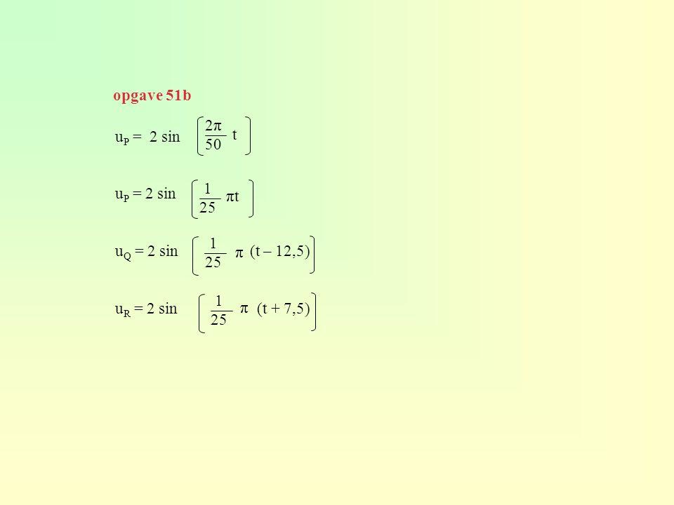 u P = 2 sin u Q = 2 sin (t – 12,5) u R = 2 sin (t + 7,5) 2π 50 t 1 25 πtπt π π opgave 51b