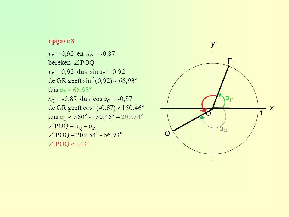 y P = 0,92 en x Q = -0,87 bereken  POQ y P = 0,92 dus sin α P = 0,92 de GR geeft sin -1 (0,92) ≈ 66,93° dus α P ≈ 66,93° x Q = -0,87 dus cos α Q = -0,87 de GR geeft cos -1 (-0,87) ≈ 150,46° dus α Q ≈ 360° - 150,46° = 209,54°  POQ = α Q – α P  POQ = 209,54° - 66,93°  POQ ≈ 143° O 1 y x P Q ∙ ∙ αPαP αQαQ opgave 8