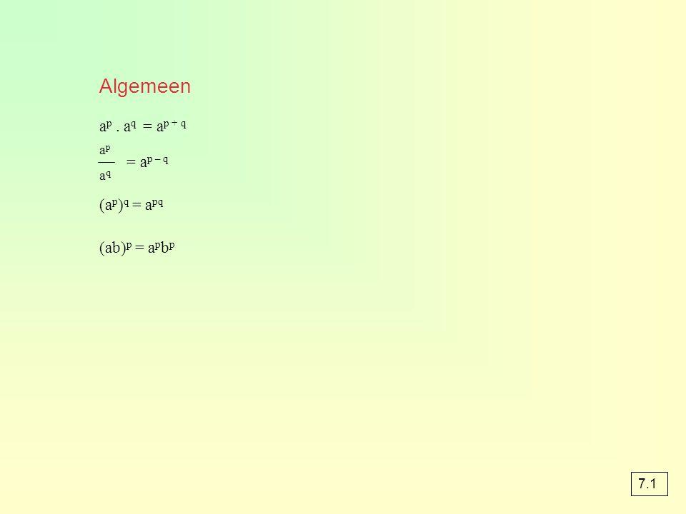 Algemeen a p. a q = a p + q = a p – q (a p ) q = a pq (ab) p = a p b p apaqapaq 7.1