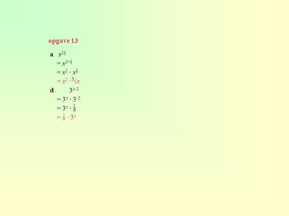 a x 2  = x 2+  = x 2 · x  = x 2 · √x d3 x-2 = 3 x · 3 -2 = 3 x ·  =  · 3 x 3 opgave 13