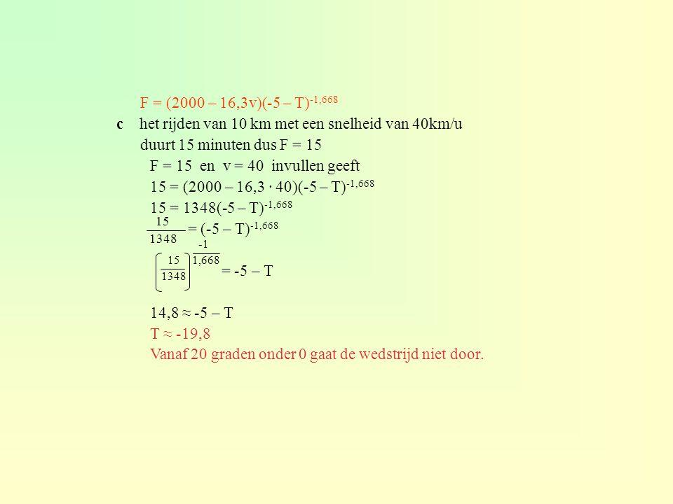 F = (2000 – 16,3v)(-5 – T) -1,668 c het rijden van 10 km met een snelheid van 40km/u duurt 15 minuten dus F = 15 F = 15 en v = 40 invullen geeft 15 =