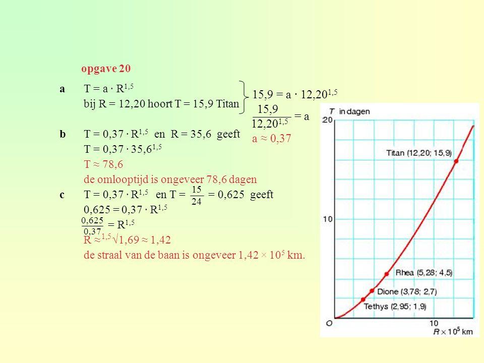 aT = a · R 1,5 bij R = 12,20 hoort T = 15,9 Titan bT = 0,37 · R 1,5 en R = 35,6 geeft T = 0,37 · 35,6 1,5 T ≈ 78,6 de omlooptijd is ongeveer 78,6 dage