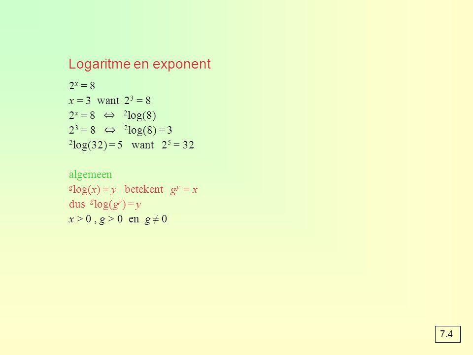 2 x-1 = 15 x – 1 = 2 log(15) x = 1 + 2 log(15) opgave 45a