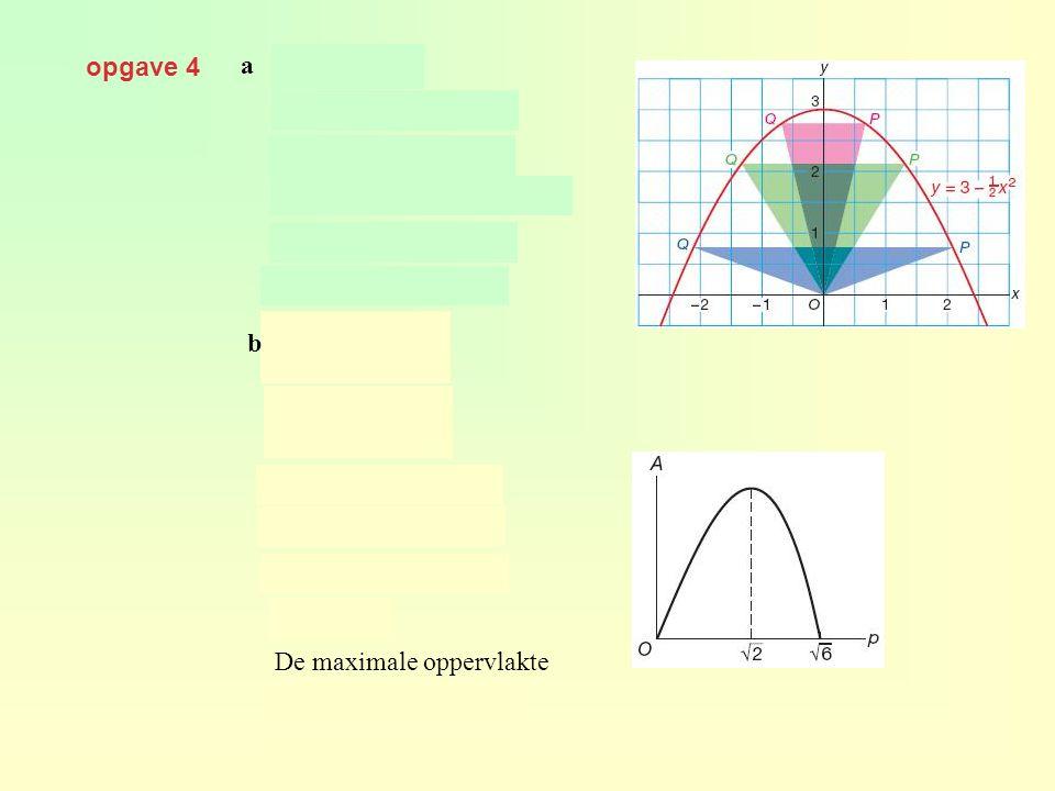 opgave 4 a en geeft dus De maximale oppervlakte b