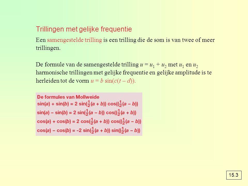 Trillingen met gelijke frequentie Een samengestelde trilling is een trilling die de som is van twee of meer trillingen. De formule van de samengesteld