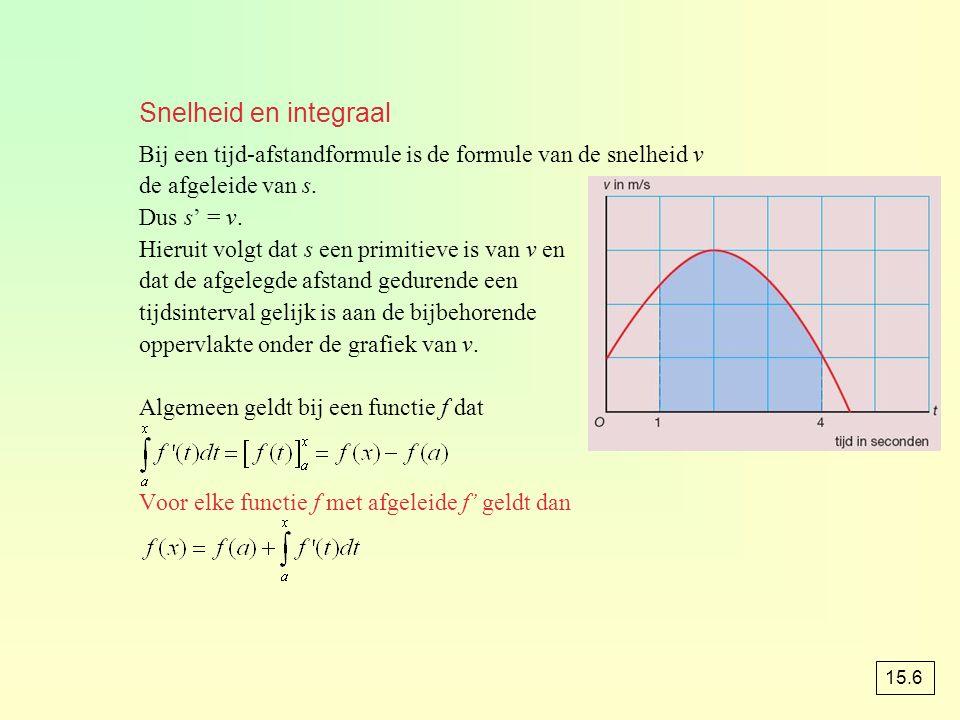 Snelheid en integraal Bij een tijd-afstandformule is de formule van de snelheid v de afgeleide van s. Dus s' = v. Hieruit volgt dat s een primitieve i