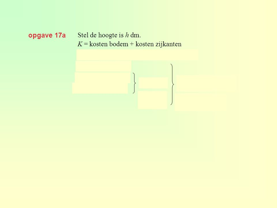 opgave 17a Stel de hoogte is h dm. K = kosten bodem + kosten zijkanten