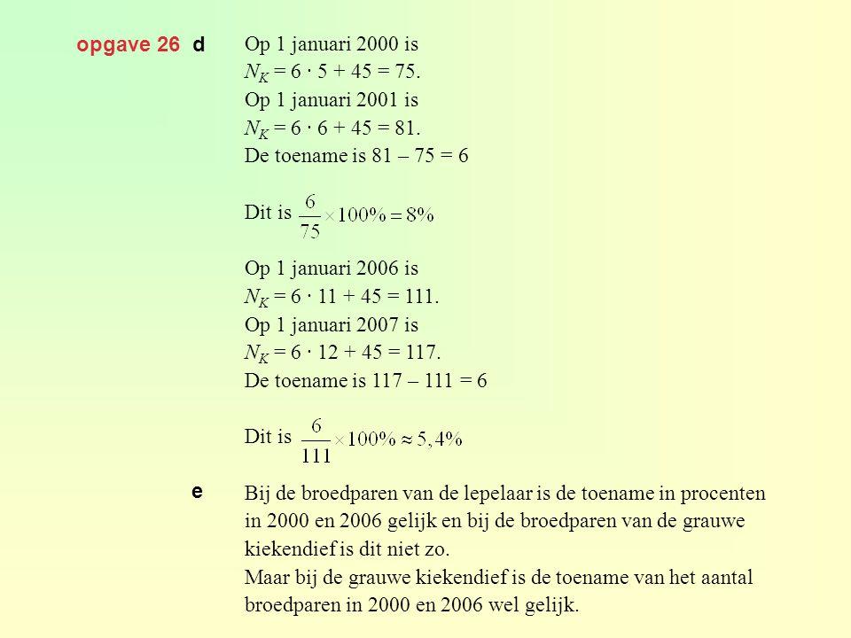 opgave 26 d Op 1 januari 2000 is N K = 6 · 5 + 45 = 75. Op 1 januari 2001 is N K = 6 · 6 + 45 = 81. De toename is 81 – 75 = 6 Dit is Op 1 januari 2006
