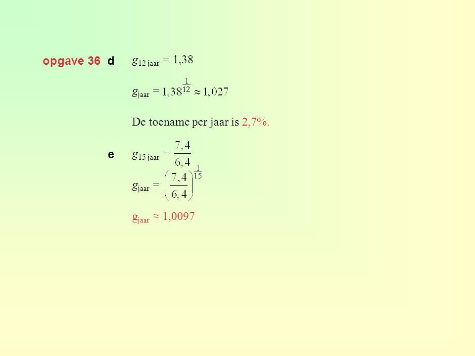 opgave 36 d g 12 jaar = 1,38 g jaar = De toename per jaar is 2,7%. g 15 jaar = g jaar = g jaar ≈ 1,0097 e
