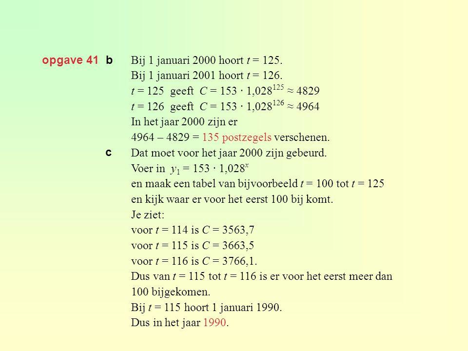 opgave 41 b Bij 1 januari 2000 hoort t = 125. Bij 1 januari 2001 hoort t = 126. t = 125 geeft C = 153 · 1,028 125 ≈ 4829 t = 126 geeft C = 153 · 1,028