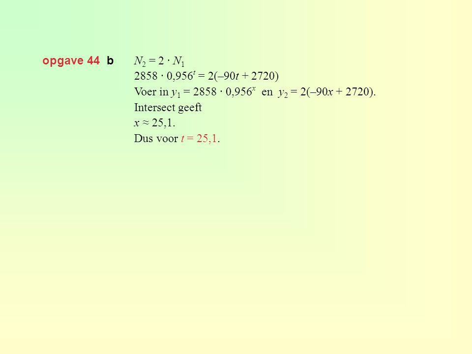 opgave 44 b N 2 = 2 · N 1 2858 · 0,956 t = 2(–90t + 2720) Voer in y 1 = 2858 · 0,956 x en y 2 = 2(–90x + 2720). Intersect geeft x ≈ 25,1. Dus voor t =