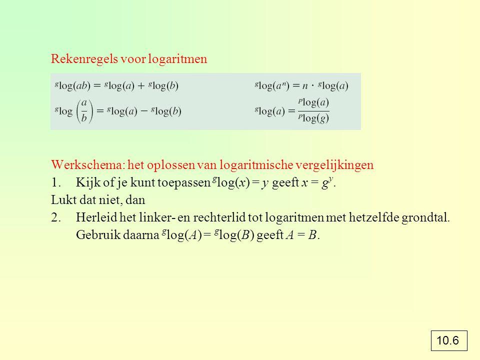 Rekenregels voor logaritmen Werkschema: het oplossen van logaritmische vergelijkingen 1.Kijk of je kunt toepassen g log(x) = y geeft x = g y. Lukt dat