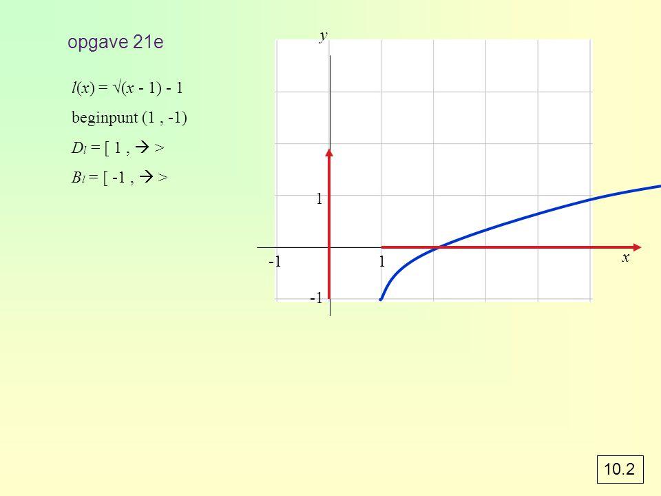 opgave 46 f: y = 2 x translatie (0, -2) y = 2 x – 2 de asymptoot van f is y = -2 g: y = (½) x translatie (2, 2) y = (½) x - 2 + 2 de asymptoot van g is y = 2 a) O x 123-2-3 y 1 2 3 4 -2 -3 f y = -2 g y = 2 b)B f = B g = c)g(4) = 2,25 x ≥ 4 geeft 2 < g(x) ≤ 2,25 d)Optie intersect geeft x ≈ 2,27.
