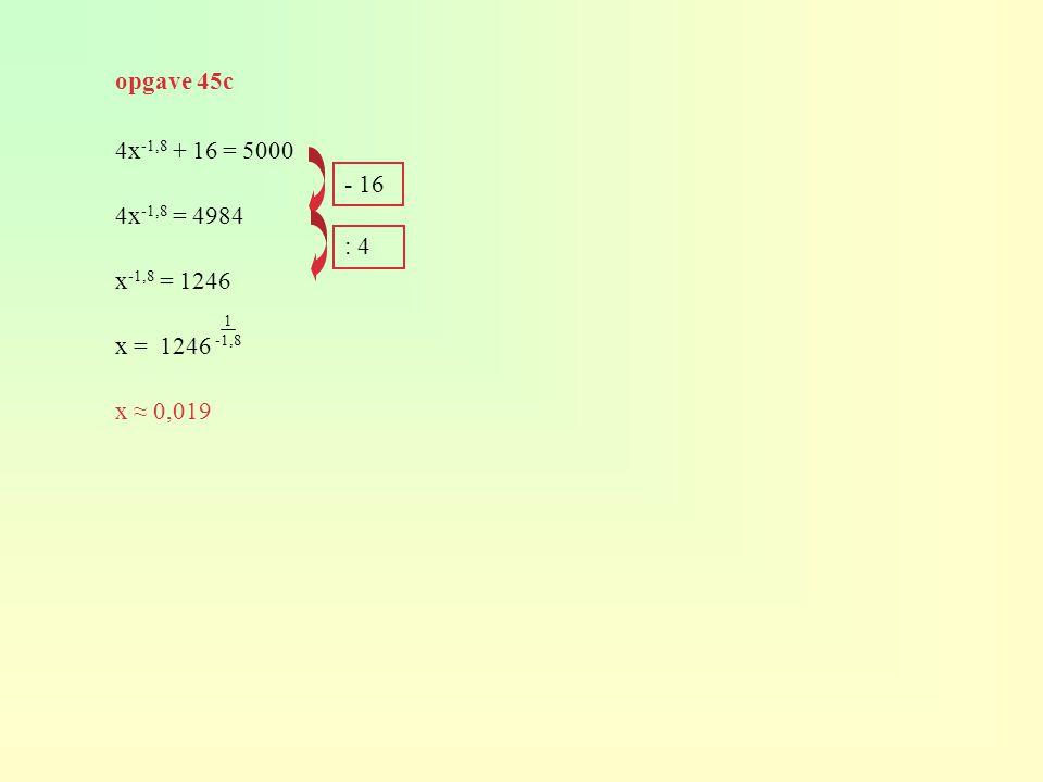 4x -1,8 + 16 = 5000 4x -1,8 = 4984 x -1,8 = 1246 x = 1246 x ≈ 0,019 - 16 : 4 opgave 45c 1 -1,8