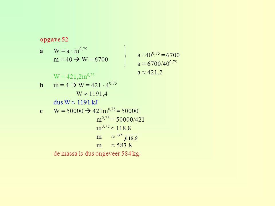 aW = a · m 0,75 m = 40  W = 6700 W = 421,2m 0,75 bm = 4  W = 421 · 4 0,75 W ≈ 1191,4 dus W ≈ 1191 kJ cW = 50000  421m 0,75 = 50000 m 0,75 = 50000/4