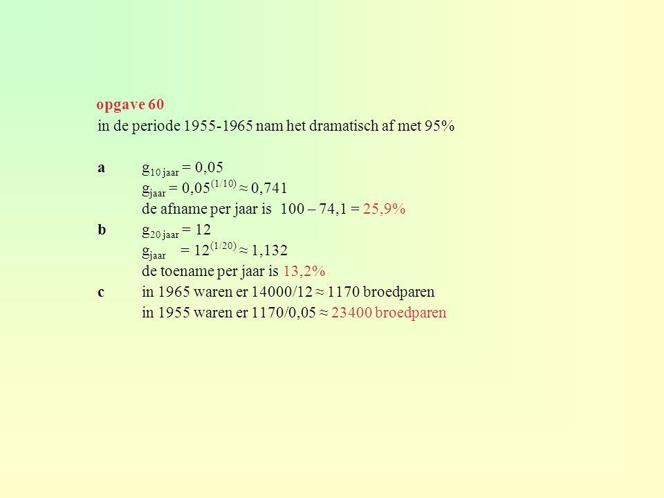 in de periode 1955-1965 nam het dramatisch af met 95% ag 10 jaar = 0,05 g jaar = 0,05 (1/10) ≈ 0,741 de afname per jaar is 100 – 74,1 = 25,9% bg 20 ja