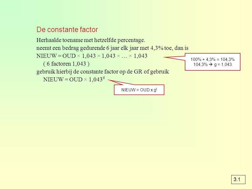 De constante factor Herhaalde toename met hetzelfde percentage. neemt een bedrag gedurende 6 jaar elk jaar met 4,3% toe, dan is NIEUW = OUD × 1,043 ×