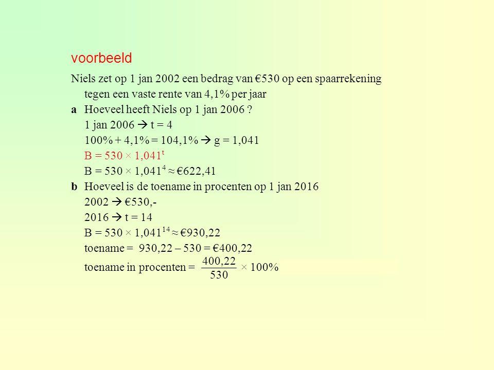 voorbeeld Niels zet op 1 jan 2002 een bedrag van €530 op een spaarrekening tegen een vaste rente van 4,1% per jaar aHoeveel heeft Niels op 1 jan 2006