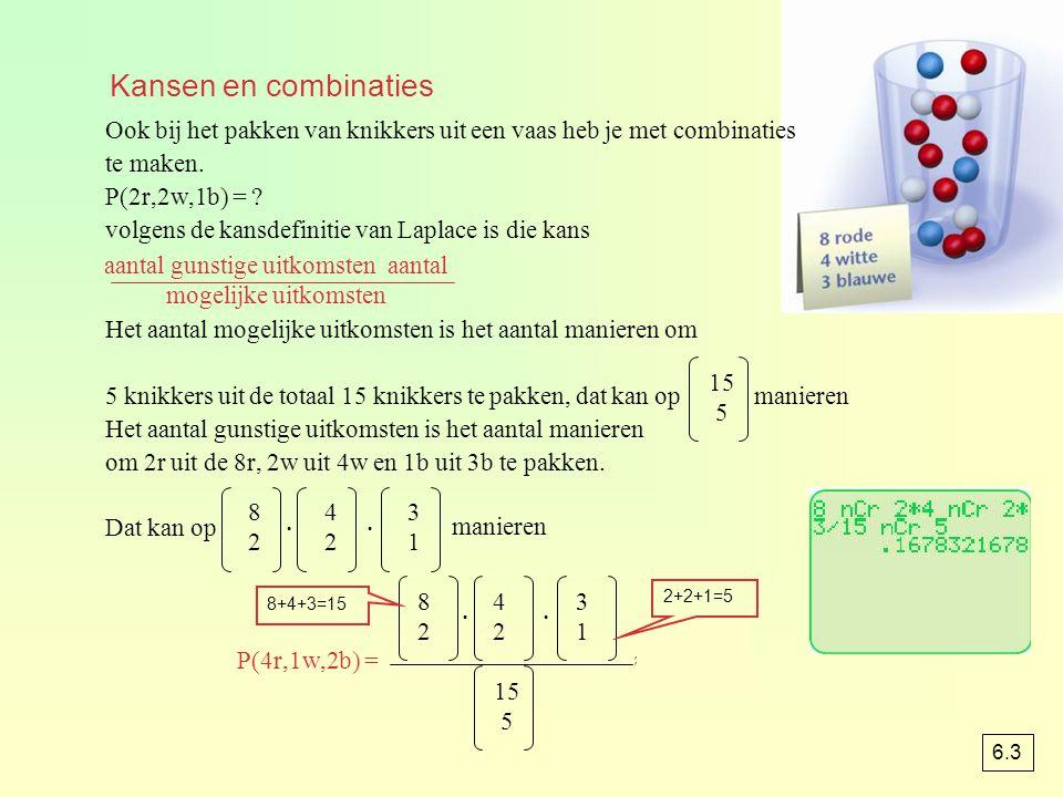 Ook bij het pakken van knikkers uit een vaas heb je met combinaties te maken. P(2r,2w,1b) = ? volgens de kansdefinitie van Laplace is die kans Het aan
