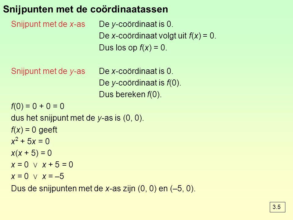 Snijpunten met de coördinaatassen Snijpunt met de x-asDe y-coördinaat is 0. De x-coördinaat volgt uit f(x) = 0. Dus los op f(x) = 0. Snijpunt met de y