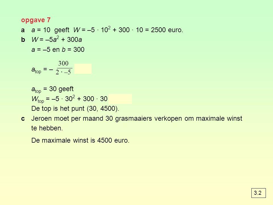 opgave 7 aa = 10 geeft W = –5 · 10 2 + 300 · 10 = 2500 euro. bW = –5a 2 + 300a a = –5 en b = 300 a top = – = 30 a top = 30 geeft W top = –5 · 30 2 + 3