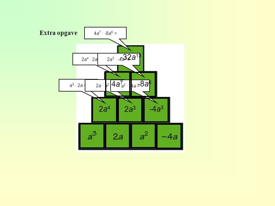 Extra opgave a 3 · 2a = 2a42a4 2a · a 2 = 2a32a3 a 2 · -4a = -4a 3 2a 4 · 2a 3 = 4a74a7 2a 3 · -4a 3 = -8a 6 4a 7 · -8a 6 = -32a 13